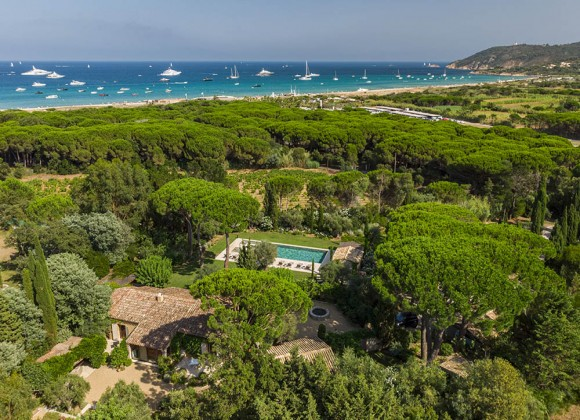 villa for let vielles pierres pampelonne beach birdview
